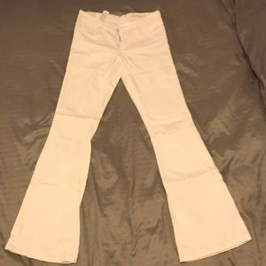 Zara Low-rise Flared White Jeans